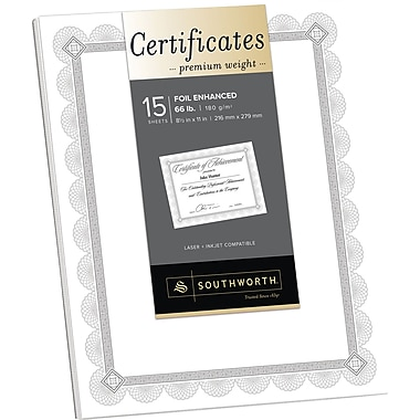 SOUTHWORTH® Premium Weight Certificates, Foil Enhanced Spiro Design, 8 1/2in. x 11in., 66 lb., Wove Finish, White/Silver, 15/Box