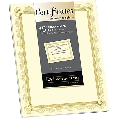 SOUTHWORTH® Premium Weight Certificates, Foil Enhanced Spiro Design, 8 1/2in. x 11in., 66 lb., Wove Finish, Ivory/Gold, 15/Box