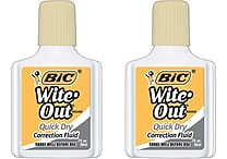 BIC® Wite-Out® Brand Correction Fluids, Quick Dry Buff, 2/Pack