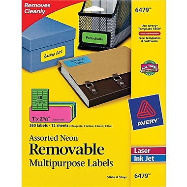 Avery® 6479 Removable Assorted Neon Organization Labels, 1in. x 2-5/8in., 360/Pack