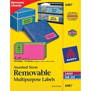 Avery® 6481 Removable Assorted Neon Organization Labels, 2 x 4, 120/Pack