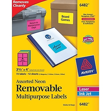 Avery® 6482 Removable Assorted Neon Organization Labels, 3-1/3in. x 4in., 72/Pack
