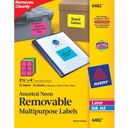 Avery® 6482 Removable Assorted Neon Organization Labels, 3-1/3 x 4, 72/Pack