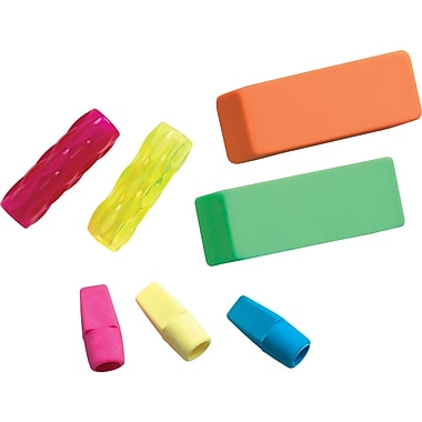 Staples® Teacher's Tub Erasers & Grips, Tub