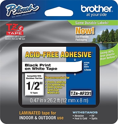 Brother TZe AF231 P Touch Acid Free 1 2 Label Tape Black on White