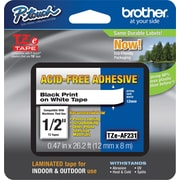 "Brother TZe-AF231 P-Touch Acid-Free 1/2"" Label Tape, Black on White"