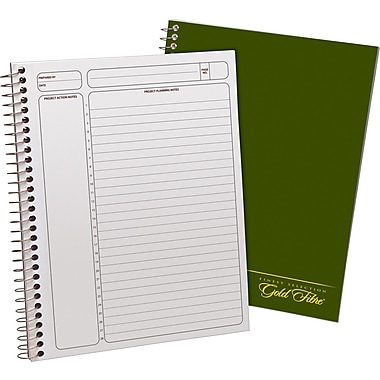 Ampad Gold Fibre Executive Series Project Planning Notebook, Project Ruled, Green,  9-1/2in. x 7-1/4in.