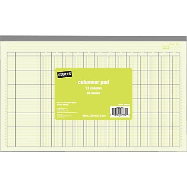 Staples® Columnar Pads, 13 Column, 13-5/16in. x 8-1/2in., Each