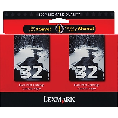 Lexmark™ 32 Black Ink Cartridges, Twin Pack (53A3912)