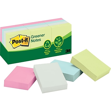 Post-it® 1-1/2in. x 2in. Recycled Sunwashed Pier Notes, 12 Pads/Pack