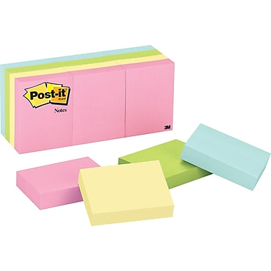 Post-it® 1-1/2in. x 2in. Pastel Notes, 12 Pads/Pack