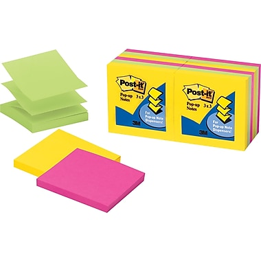Post-it® 3in. x 3in. Ultra Colors Pop-Up Notes, 12/Pack