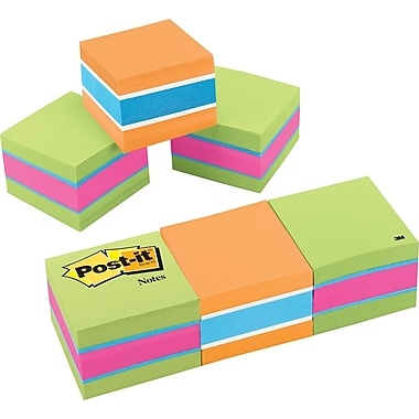 Post-it® 2in. x 2in. Assorted 3-Color Memo Cubes, 3 Pads/Pack