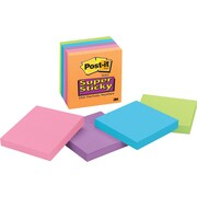 Post-it® Super Sticky 3 x 3 Assorted Electric Glow Notes, 5 Pads/Pack