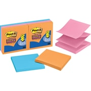 Post-it® Super Sticky 3 x 3 Pop-Up Notes, Electric Glow, 6/Pack