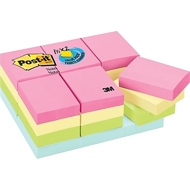 Post-it® 1-1/2in. x 2in. Pastel Notes Value Pack, 24 Pads/Pack