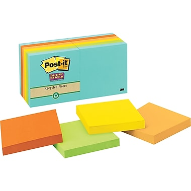 Post-it® Super Sticky 3in. x 3in. Recycled Farmers Market Notes, 12 Pads/Pack