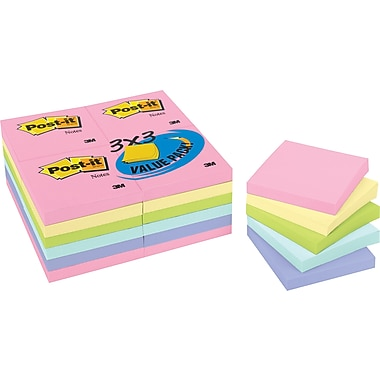 Post-it® 3in. x 3in. Pastel Notes Value Pack, 24 Pads/Pack