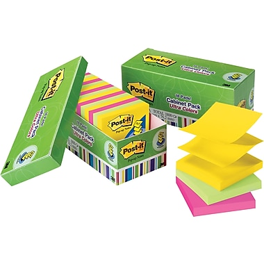 Post-it® 3in. x 3in. Ultra Colors Pop-Up Notes with Cabinet Pack, 18/Pack