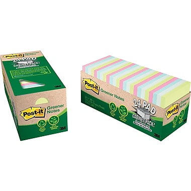 Post-it® 3in. x 3in. Recycled Sunwashed Pier Notes, Cabinet Pack, 24/Pack