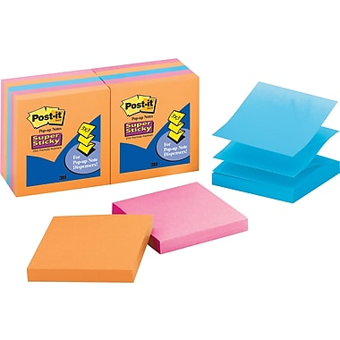 Post-it® Super Sticky 3in. x 3in. Neon Pop-Up Notes, 10 Pads/Pack