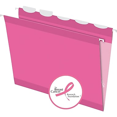 Pendaflex® Pink Ribbon 5 Tab Hanging File Folders, Letter, Pink, 20/Box