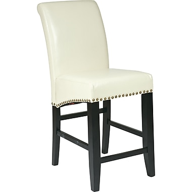 OSP Designs Metro Bonded Leather 24in. Parsons Stool w/ Nail Heads, Cream
