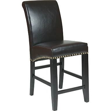 OSP Designs Metro Bonded Leather 24in. Parsons Stool w/ Nail Heads, Espresso