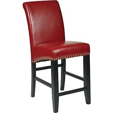 OSP Designs Metro Bonded Leather 24in. Parsons Stool w/ Nail Heads