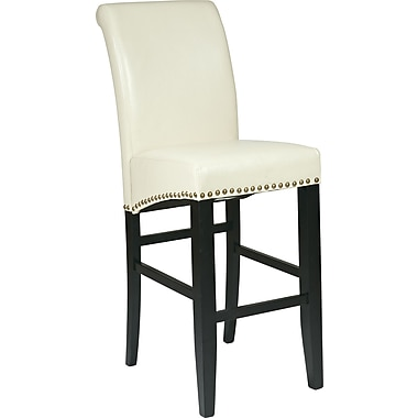 OSP Designs Metro Bonded Leather 30in. Parsons Stool w/ Nail Heads, Cream