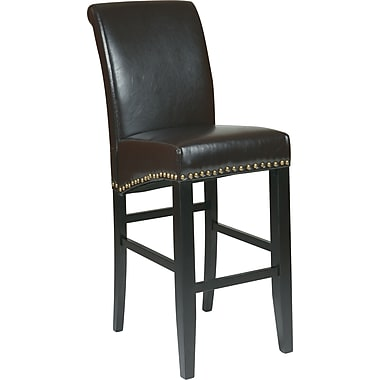 OSP Designs Metro Bonded Leather 30in. Parsons Stool w/ Nail Heads, Espresso