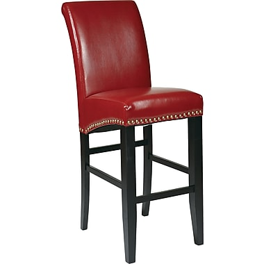 OSP Designs Metro Bonded Leather 30in. Parsons Stool w/ Nail Heads, Crimson Red