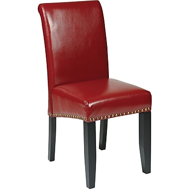 OSP Designs Metro Bonded Leather Parsons Chair w/ Nail Heads, Crimson Red