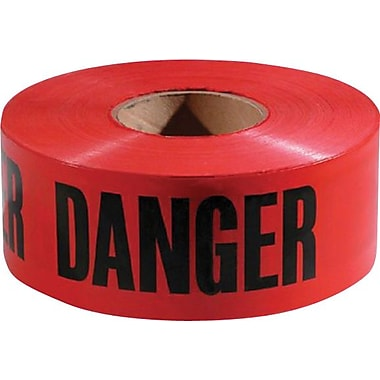 Empire® Level Safety Barricade Tape, Red, Danger, 1000' Length, 1/Roll