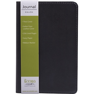 Eccolo Flexible Journal, Black Leather, 4in. x 6in.