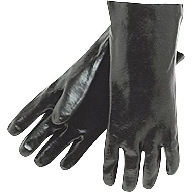 Memphis Gloves® Dipped Gloves, PVC Rough Finish, Gauntlet Cuff, Large, Black, 12in., 12 Pairs