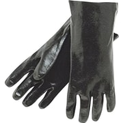 Memphis Gloves® Dipped Gloves, PVC Rough Finish, Gauntlet Cuff, Large, Black, 12, 12 Pairs