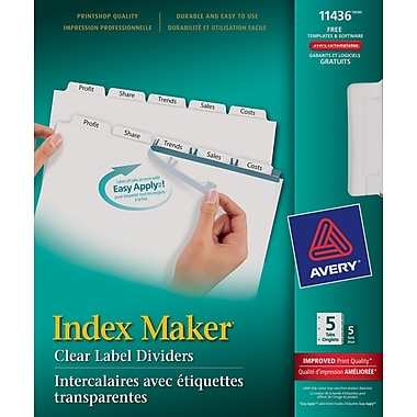 avery easy apply 5 tab template avery 11436 index maker easy apply clear label dividers
