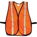 North® Economical Mesh Traffic Vests, Polyester Mesh, One Size, Hook & Loop, Orange, 5/Pack