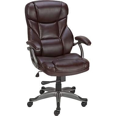 Staples Osgood Bonded Leather High-Back Manager's Chair, Brown
