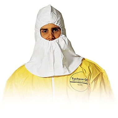 DuPont® Tyvek® Hoods, Elastic Face, White, Serged Seams, 25/Carton