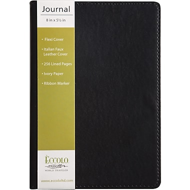 Eccolo Flexible Journal, Black Leather, 5-1/2in. x 8in.