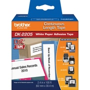 "Brother DK2205 Continuous Length Paper Label, 2-1/2"" Black on White"