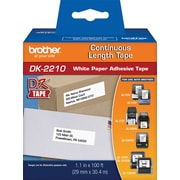 "Brother DK2210 1-1/7"" Continuous Length Paper Tape, Black/White"
