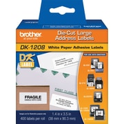 "Brother DK1208 3.5"" Large Address Labels, White, 400 Labels/Roll"