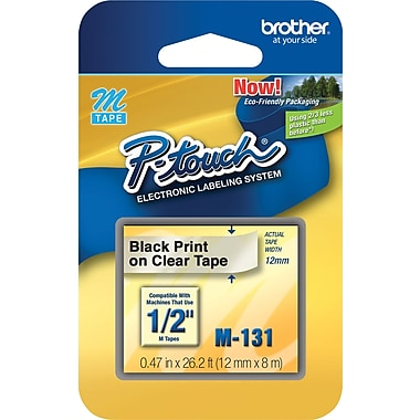 Brother 1/2in. Black on Clear tape (M131)