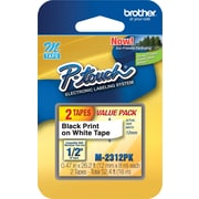 "Brother M2312PK 1/2"" M Series Tape Cartridges, Black on White"