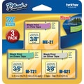 Brother 3/8in. Black on Pink, Green, Silver Tape, 3/Pack