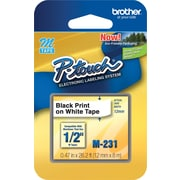 "Brother 1/2"" Black on White 26.2Ft tape (M231)"