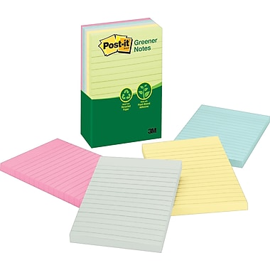 Post-it® 4in. x 6in. Line-Ruled Recycled Sunwashed Pier Notes, 5/Pack